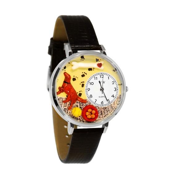 Setter Irlandés Reloj De Plata (grande)