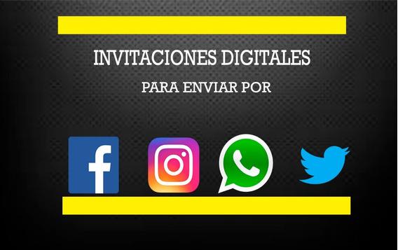 Tarjetas De Invitaciones Digitales Varias,cumpleaños,xv,etc