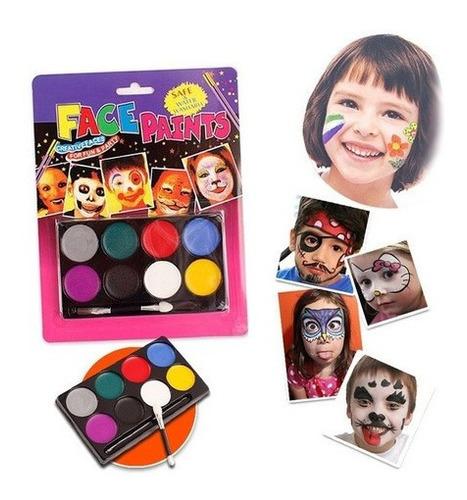 Kit Pinta Caritas Maquillaje Halloween Fiestas 8 Colores