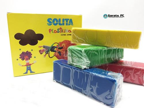 Plastilina Solita Extra Jumbo 4colores 100gr Cada Color X3un