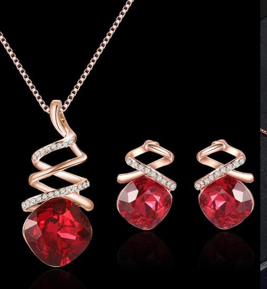 Elegante Collar+ Aretes Zirconias Chapa De Oro