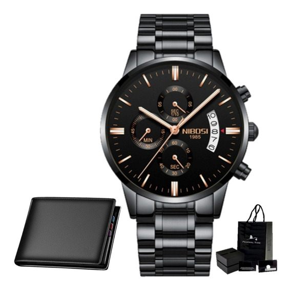 Relógio Suiço Nibosi Original 100% Funcional +carteira Couro