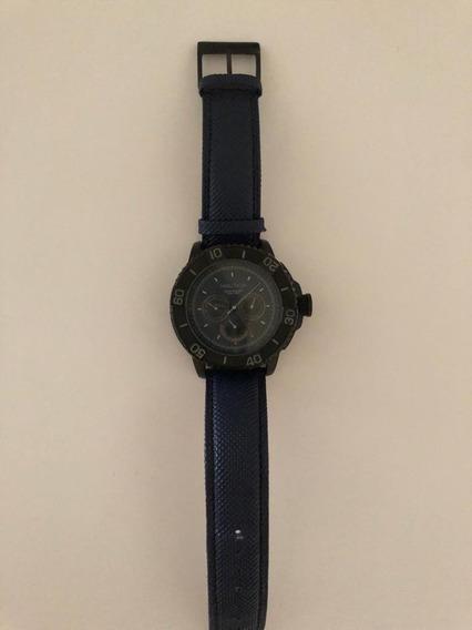Relógio Masculino Nautica Azul Com Pulseira De Couro
