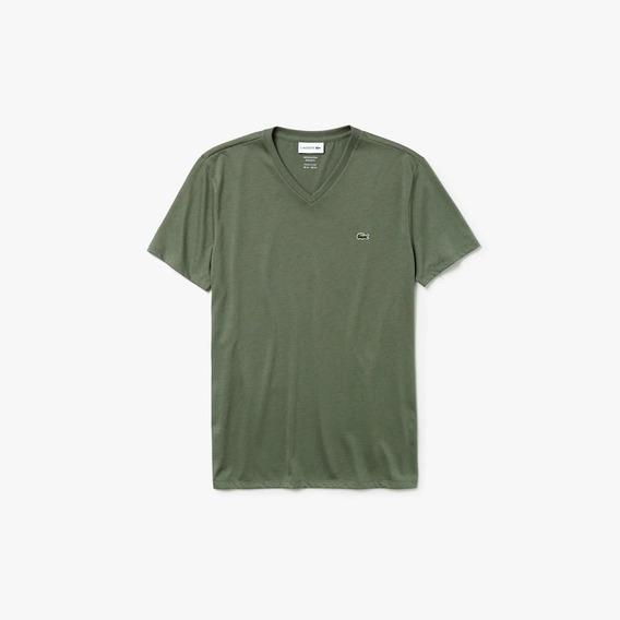 Camiseta Lacoste Masculina Em Algodão Pima Com Gola V