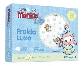 Fralda De Pano Luxo Turma Da Mônica 70x70cm - Cebolinha