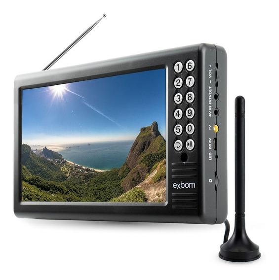 Tv Digital Portátil Com Tela De 7 Em Led Com Antena Digital Externa E Entradas Usb Micro Sd E P2 Para Fone Ouvido