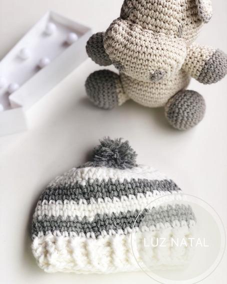 Gorro Bebé Tejido Al Crochet Lana Soft Bebe Hipoalergénica