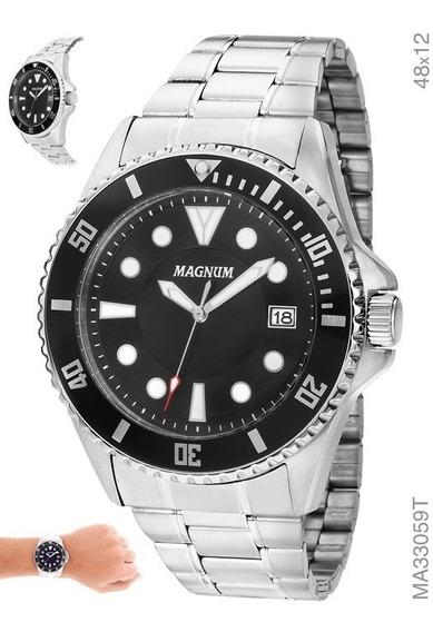 Relógio Masculino Magnum Sports Prata Garantia Nf 40% Off