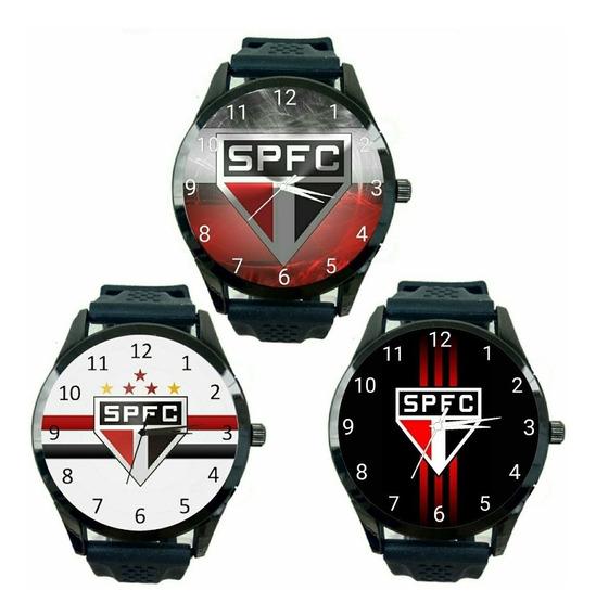 Kit 3 Relógios São Paulo Tricolor Masculino Futebol Fc T230