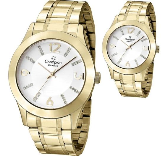 Relógio Champion Feminino Grande Dourado Cn28713h