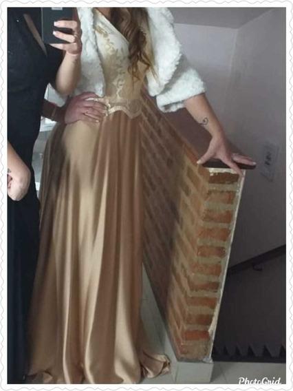 Vestido De Fiesta Dorado Talle L