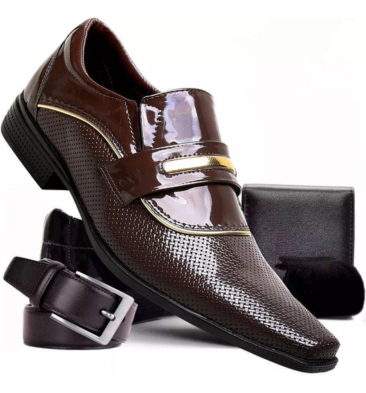 Kit Sapato Masculino Em Verniz+carteira+cinto+meia Bom Preço