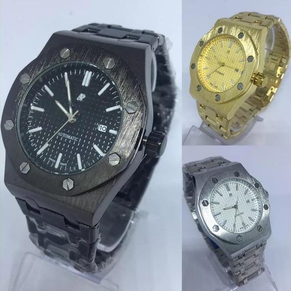 Kit 5 Relógio Audemars Piguet Dourado/ Prata/ Preto + Caixa