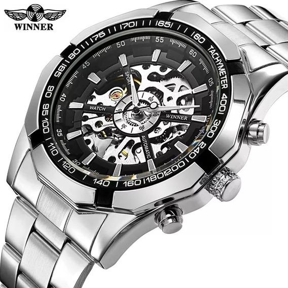 Relógio Winner Prata Original Mecânico Skeleton Automático Promoção
