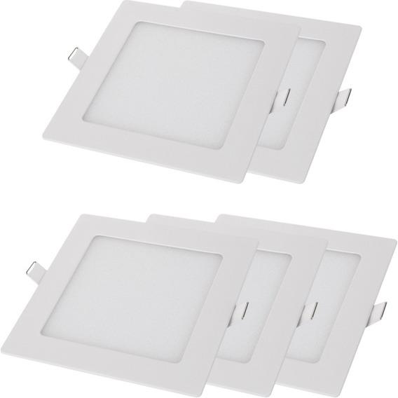 Kit 5 Luminárias Painel Quadrado Embutir 18w Branca Mundilux