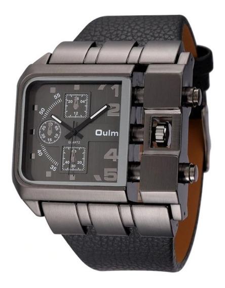 Relógio Masculino Rústico Preto Aço Inoxidável Couro Oulm !