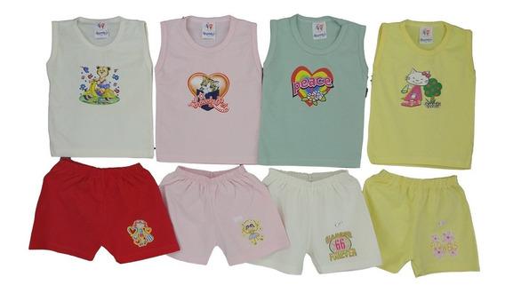 Regata Bebê + Short Bebê Verão Roupa De Bebê 12 Peças