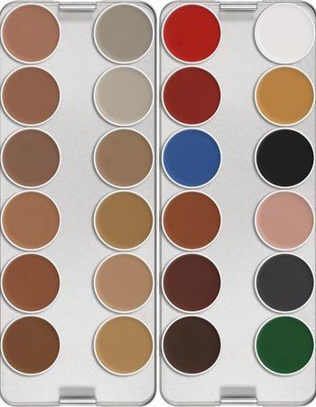 Maquillaje Compacto Aquacolor Paleta 24 Colores Kryolan