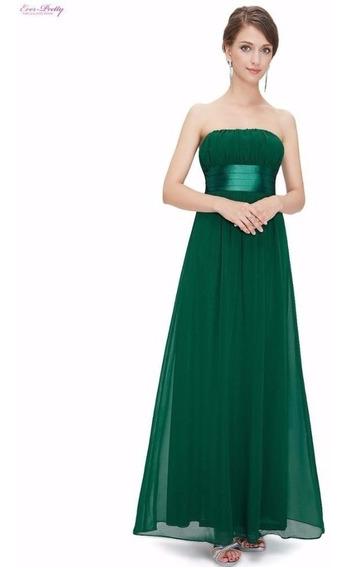 Vestido Longo Ever Pretty Verde Importado Já No Brasil