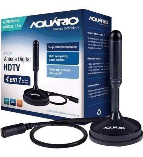 Antena Interna Tv Digital Hdtv Dtv-100 Aquario Cabo 2,5 Mts