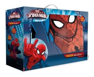 Frazada Hombre Araña Spiderman Niños 1 1/2 Plaza. Simil Piel