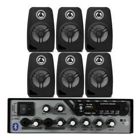 Kit Som Ambiente 500 Watts Bluetooth +6 Caixas Parede Pretas