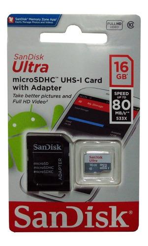 Memoria Micro Sdhc Sandisk 16gb Clase 10 Con Adaptador Nuevo