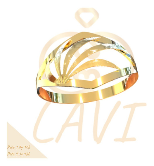 Anel Chapa Recortada Leve Ouro 18k C5