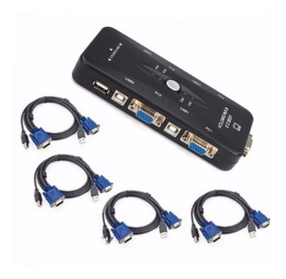 Chaveador Kvm Usb Switch 4 Portas Vga/ E Kit 4 Cabos Kvm Usb