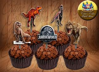 Jurassic Dinossauro 50 Apliques Tags Topper Para Doces