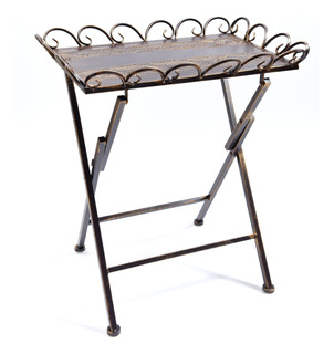 Mesa Metal Plegable Marrón