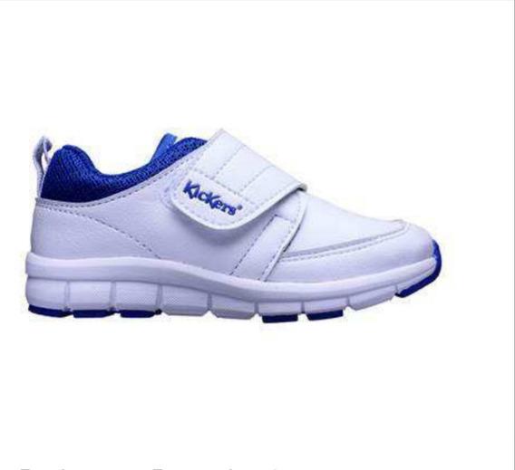 Zapatillas Kickers Colegial Nueva Dualfit Blanca Azul Abrojo