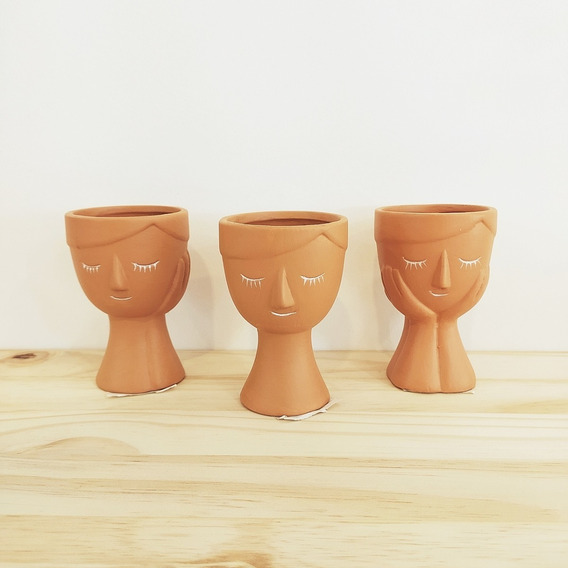 Kit 3 Vasos Porcelana Cor Barro Rosto 10,5cm