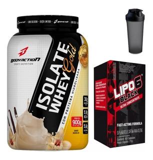 Kit Isolate Whey Gold 900g + Lipo 6 Black 60 Caps + Shaker