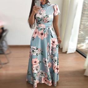 Vestido Maxi Impresión Floral Digital Cuello De Tortuga Muj