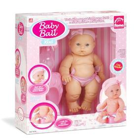 Boneca Bebê Baby Ball Xixi C/ Mamadeira E Troninho - Roma