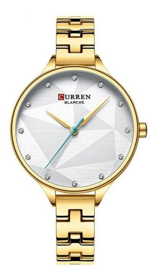 Relógio Feminino Curren Analógico C9047l - Dourado E Prata