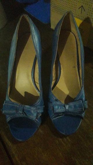 Zapatos Via Uno Azules - Taco Brasil - Usa 8 Bra 37 Eur 39