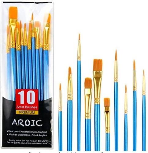 Juego De  10 Pinceles Para Pintura Acrílica, Oleo Y Al Frio