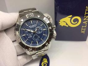Relógio Atlantis Grande Masculino Prata Fundo Azul