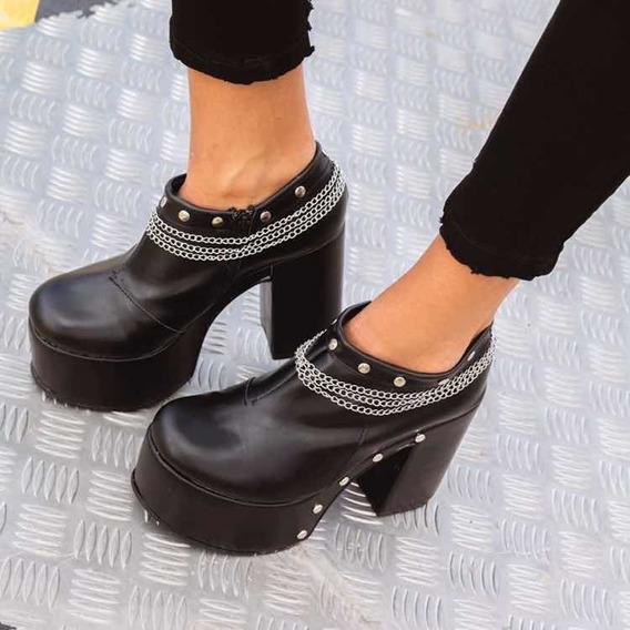 Zapatos Tipo Botita Botinetas Negros Con Plataforma Y Tachas