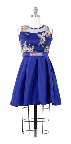 Vestido Corto De Fiesta Satinado, Bordado Dorado, Princesa.