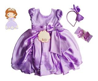 Vestido Sofia Princesa Festa Infantil Daminha Lilás Roxo