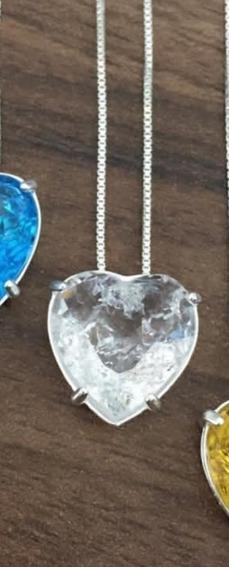 Conjunto Em Prata 925 Com: Corrente Zirconia Coração
