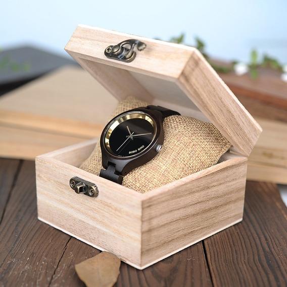 Relógio Feminino Bambu Analógico P16 Bobo Bird + Frete Top
