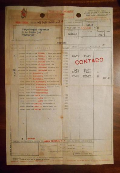 Antigua Factura Jabon Federal S. A. Delbene Hnos. 1955
