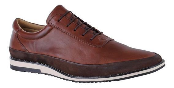Sapato Sapatênis Casual Amarrar Couro Nobre Connect 050 Pv