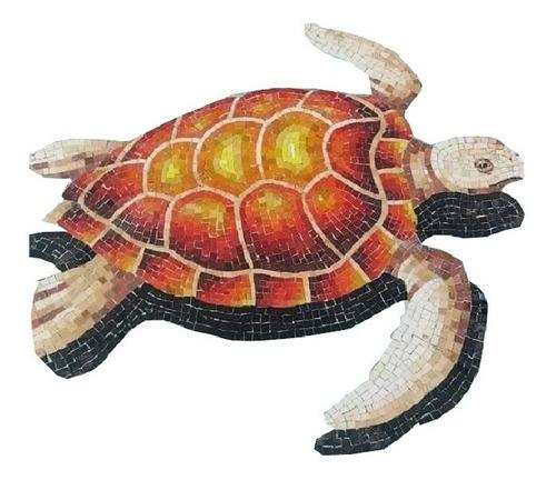 Mosaico Veneciano Figura Tortuga Aletas Largas De 60 Cms,para Alberca