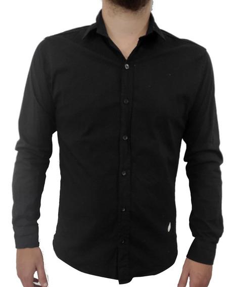Camisas Hombre Entallada Slim Fit Elastizada Lisas Vestir
