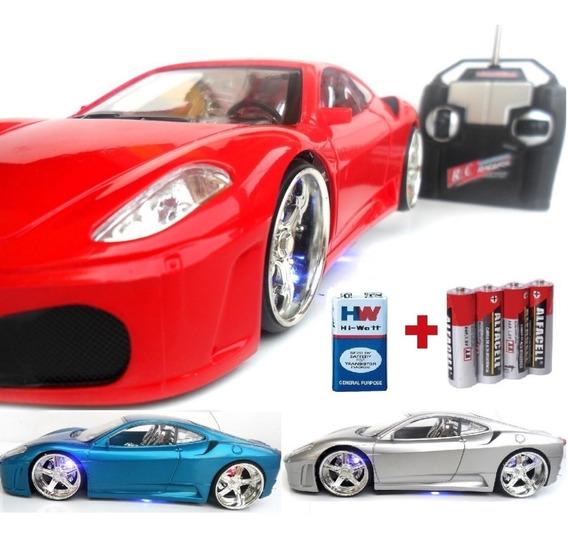 Carrinho Controle Remoto Ferrari Acende Leds + Brinde Full